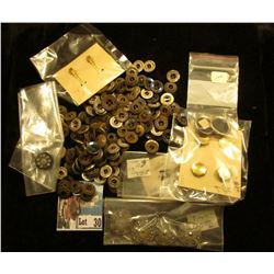 Collection of over 100 various buttons, a large majority of which are steel.