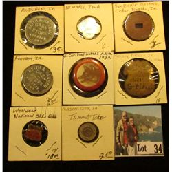 "Group of Tokens and badges, includes Melvin Purvis Junior G-Man Corps (pin missing); ""Woolwear Natio"