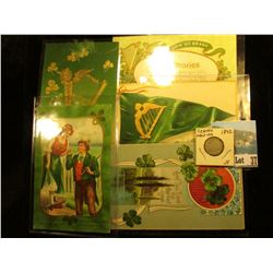 (5) Different 1909-1913 era Irish Post cards with St. Patrick's Day themes; & 1842 P U.S. Seated Lib