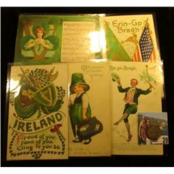 (5) Different 1908-20 era Irish Post cards with St. Patrick's Day themes; & 1938 P Toned BU Jefferso