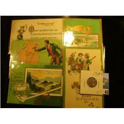 (5) Different 1911-19 era Irish Post cards with St. Patrick's Day themes; & 1938 D Toned BU Jefferso