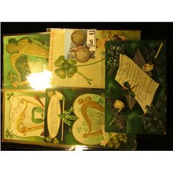 (5) Different 1909-1910 era Irish Post cards with St. Patrick's Day themes; & a pair of 1902 S U.S.