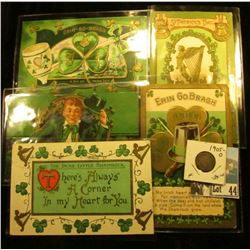 (5) Different 1910 era Irish Post cards with St. Patrick's Day themes; & 1905 O U.S. Barber Dime, Fi