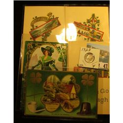 (5) Different 1910 era Irish Post cards with St. Patrick's Day themes; & 1923 P Mercury Dime in VF..