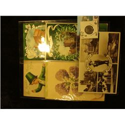 (5) Different 1910-20 era Irish Post cards with St. Patrick's Day themes; & 1917 S Mercury Dime in E