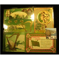 (5) Different 1908-11 era Irish Post cards with St. Patrick's Day themes; & 1907 S Barber Quarter, A