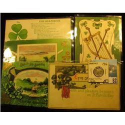 (5) Different 1910-18 era Irish Post cards with St. Patrick's Day themes; & 1916 P Mercury Dime in E