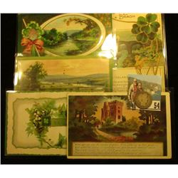 (5) Different 1910-12 era Irish Post cards with St. Patrick's Day themes; & 1909 D Barber Quarter, A