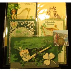 (5) Different 1909 era Irish Post cards with St. Patrick's Day themes; & 1910 P Barber Quarter, Good