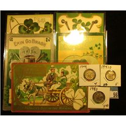 (5) Different 1909-13 era Irish Post cards with St. Patrick's Day themes; 1941 D, 43 P, & 44 P Mercu