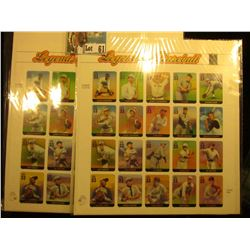 "Pair of ""Legends of Baseball"" 2000 U.S.P.S. Sheets of Stamps. Each has 20 x .33c Stamps, for a total"
