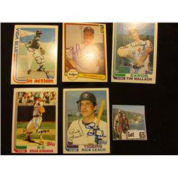 "(5) 1982 Autographed Baseball Cards, includes ""Vida Blue"", ""Tom Lasorda"", ""Tim Wallach"", ""Brian King"