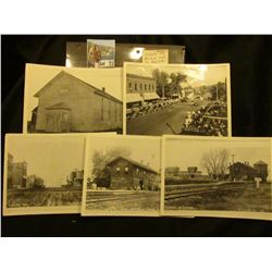 (5) Early 1900 Nichols Iowa Black and White Photos, which 'Doc' says were used to make Post cards. '