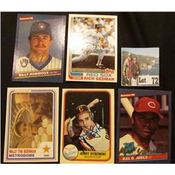"(5) 1981-85 Autographed Base Ball Cards including ""Billy Robidoux"", ""Rich Gedman"", ""Wally the Beerma"