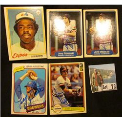 "(5) 1978-82 Autographed Base Ball Cards including ""Ellis Valentine"", ""Jerry Dybzinski"", & ""Jerry Aug"