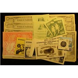 "(6) $100 ""Coffeepon"" Scrip notes; several pieces of ""Lois' Drapery Bank…Ladora, Iowa"" Scrip; (2) pie"