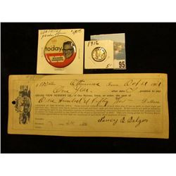 1901 Ottumwa, Iowa Promissory Note; NBC Today Watkins Products Pin-back; & 1916 P Mercury Dime, VF.