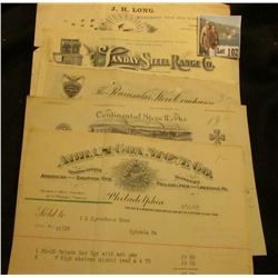 "A Group of hundred year old plus letterheads, Invoices, Letters, and etc. from ""Abram Cox Stove Co.,"