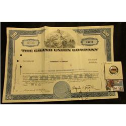 "100 Shares Stock Certificate for ""The Grand Union Company State of Delaware"" Each share was valued a"