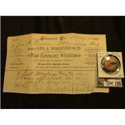 "May 18, 1889 Receipt ""Bought of Geo. A. Woodford & Co. Wholesale Dealers in Fine Kentucky Whiskies O"