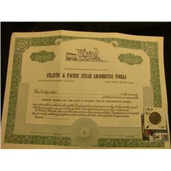"Common Shares Unissued Stock Certificate ""Atlantic & Pacific Steam Locomotive Works…State of Illinoi"