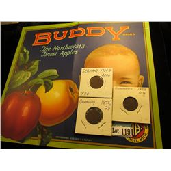 """Buddy Brand The Northwest's Finest Apples Andrews Brothers Detroit, Mich.""; 1875 J 2 Pfennig, 1923"