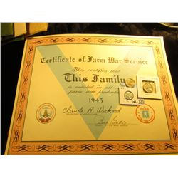 "Large ""Certificate of Farm War Service This Certifies tha This Family is enlisted in all-out farm wa"