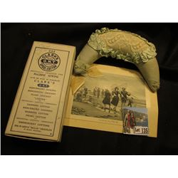 """Manfactory Established 1812 The Clark Thread Company…"" Box; Lace Pin Cushion; & advertising Sewing"