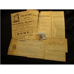 """Lackawanna & Wyoming Valley R.R. Co."" Ticket and stub; ""Johnson, Clark & Co…Home Sewing Machine…St."