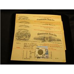 "(5) 1904 era ""Nonotuck Silk Co. Corticelli Spool Silk"" Invoices, which 'Doc' sold for $4 each; & 186"