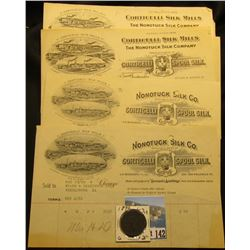 "(2) 1905 era ""Nonotuck Silk Co. Corticelli Spool Silk"" Invoices & letters, which 'Doc' sold for $8 e"