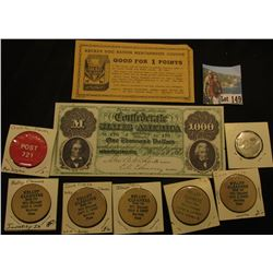 "(5) ""Kelley Cleaners…Wardway Plaza"", Wooden Nickels; ""Post 721"" Gambling Chip from Coralville, Iowa;"