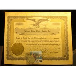 Jan. 28, 1933 National Union Thrift Society, Inc Membership Certificate with embossed seal, eagle vi