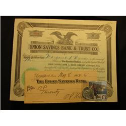 May 15, 1931 Union Savings Bank & Trust Co. of Davenport, Iowa Stock Certificate for 3 Shares valued