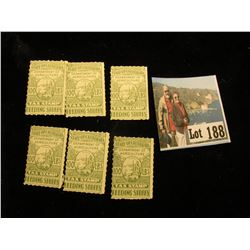 "Group of (6) ""State of California Department of Agriculture 100 LBS. Tax Stamp Feeding Stuffs"", all"
