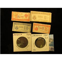 Group of (4) State of Wyoming Treasury Department Liquor Tax Stamps; 1885 1/2 Penny & 1909 Penny fro