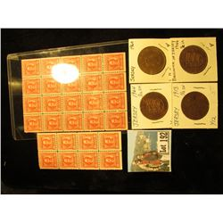 Block of 8 & Block of 20 Series 1940 United States Internal Revenue Documentary Stamps, Mint; & a Se
