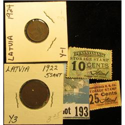 10 Cents & 25 Cents Pennsylvania R.R. Co. Storage Stamps, cancelled; 1924 Latvia Santims, EF & 1922