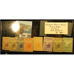 "(8) California Revenue Stamps ""Feeding Stuff"" Very Early mint collection, which 'Doc' value at $95.0"