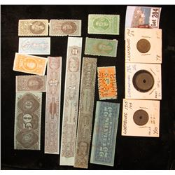 (12) Early 1900 era U.S. Internal Revenue Tobacco Stamps; & a 1908-15 Three-Piece Type set of Luxemb