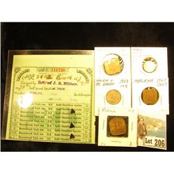 79.9 Gallons Distilled Spirits Warehouse Tax Stamp, Sterling Ills.; & a set of (5) Malaya/Malaya-Bor