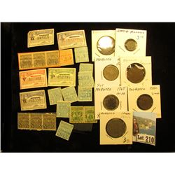 Large Group of Depression era Liquor & Tobacco Stamps; & a seven-piece Type Set of Moroccan Coins wi
