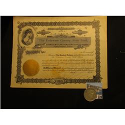 "Unissued Iowa Stock Certificate ""The Delaware County State Bank Manchester, Iowa"", u.l. vignette of"