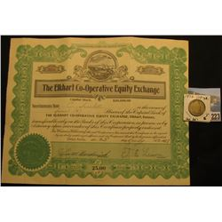 "July 23, 1937 Stock Certificate for 4 Shares @ $25 each ""The Elkhart Co-operative Equity Exchange',"
