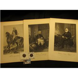 Trio of Prints from steel engravings including one of William Cullen Bryant, & Joshua Barnoy; 1909 P