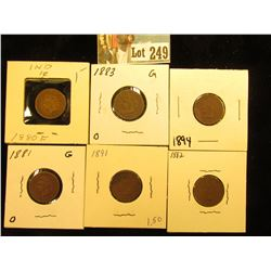 (6) Indian Cents G 1880,1881,1882,1883,1891,1894