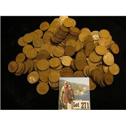 Bag of 211 Wheat Cents: (190)1920's, (21) teens & 30's