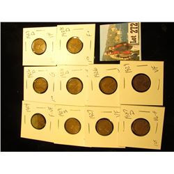 (10) Lincoln Cents G -VF 1924, 1926, 1926-D, 1927, 1927-D, (2)1928 D, 1929, 1929-D, 1929-S