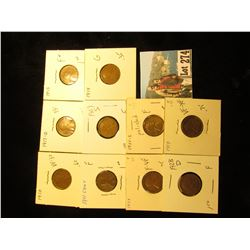 (10) Lincoln Cents G-VF: 1910, 1911, 1913, 1914, 1917-D, 1919, 1921-S, 1923, 1928-D, 1929-S