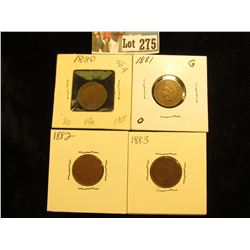 (4) Indian Cents G-VG 1880, 1881, 1882, 1883